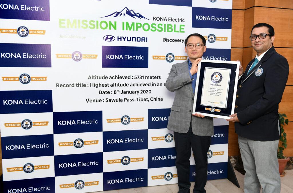 Troféu Hyundai KAUAI Electric no GUINNESS WORLD RECORD